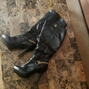 black and gold heeled boots